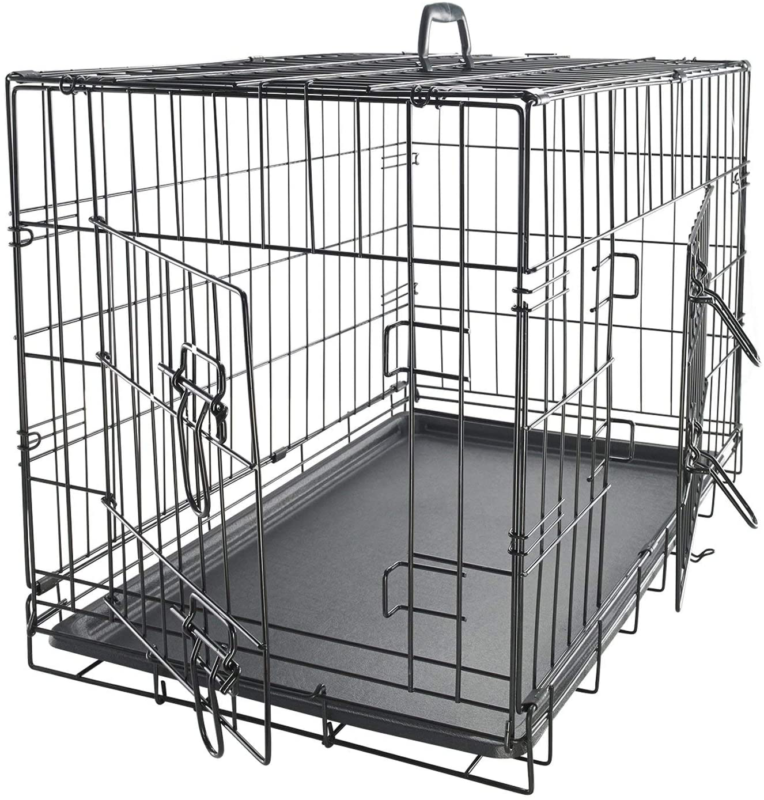 30 inch Dog Crate Double-Door Folding Metal Wire Pet Cage wi