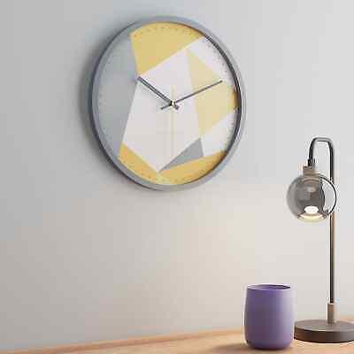 Wall Clock Home Kitchen Living Room Geo Yellow Ochre Design Pattern