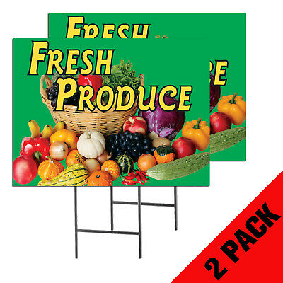 Fresh Produce 2-pack Double Sided Outdoor Signs W Metal Ground Stakes 24x18