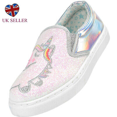 Girls Childrens Kids Pink Silver Unicorn Sparkly Skate Shoes Trainers Holiday - Pink Sparkly Girls Shoes