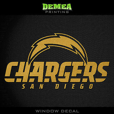 San Diego Chargers Vinyl - San Diego Chargers_Text NFL -  Gold Vinyl Sticker Decal 5
