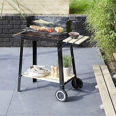 BBQ Grill Trolley Barbecue Patio Outdoor Garden Steel W 41cm x L 3cm x H 85cm