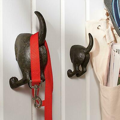 Two Dog Tail Hooks Hat Coat Pet Leash Hanger Key Holder Wall Organizer Entry Gem Wall Hook
