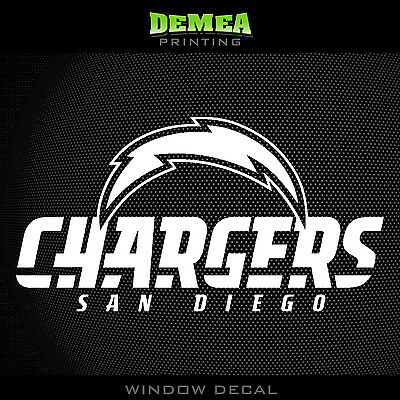 San Diego Chargers Vinyl - San Diego Chargers_Text NFL -  White Vinyl Sticker Decal 5