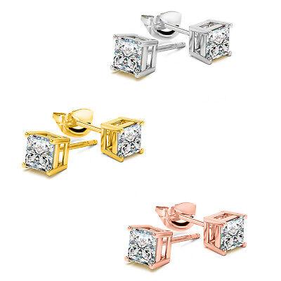 (925 Sterling Silver 14kt Gold or Rose Gold Square BASKET SET CZ Stud Earrings )