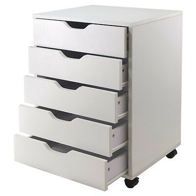 5-drawer Wood File Cabinet Dresser White Rolling Home Office Closet Bedroom New