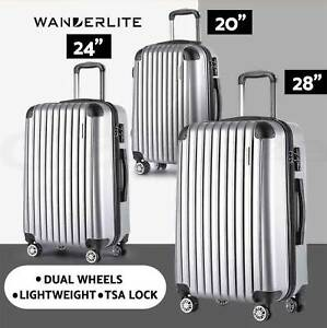 3pc Luggage Suitcase Trolley Set TSA Silver Hard Case Lightweight