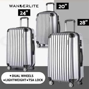 3pc Luggage Suitcase Trolley Set TSA Silver Hard Case Lightweight