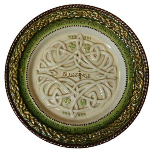 "Grasslands Road Celtic Happiness Plate An Irish Blessings 8"" Green Dish Shamrock"