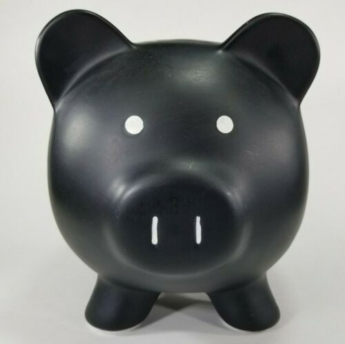 "Ceramic Halloween Matte Black Pig Piggy Bank w/Padded Feet, Large 9""x7""x7"""