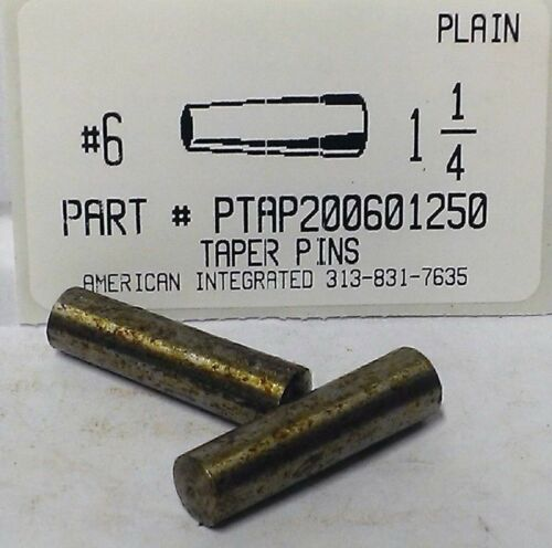 "#6X1-1/4 TAPER PIN STEEL PLAIN .341"" LARGE END DIAMETER (5)"