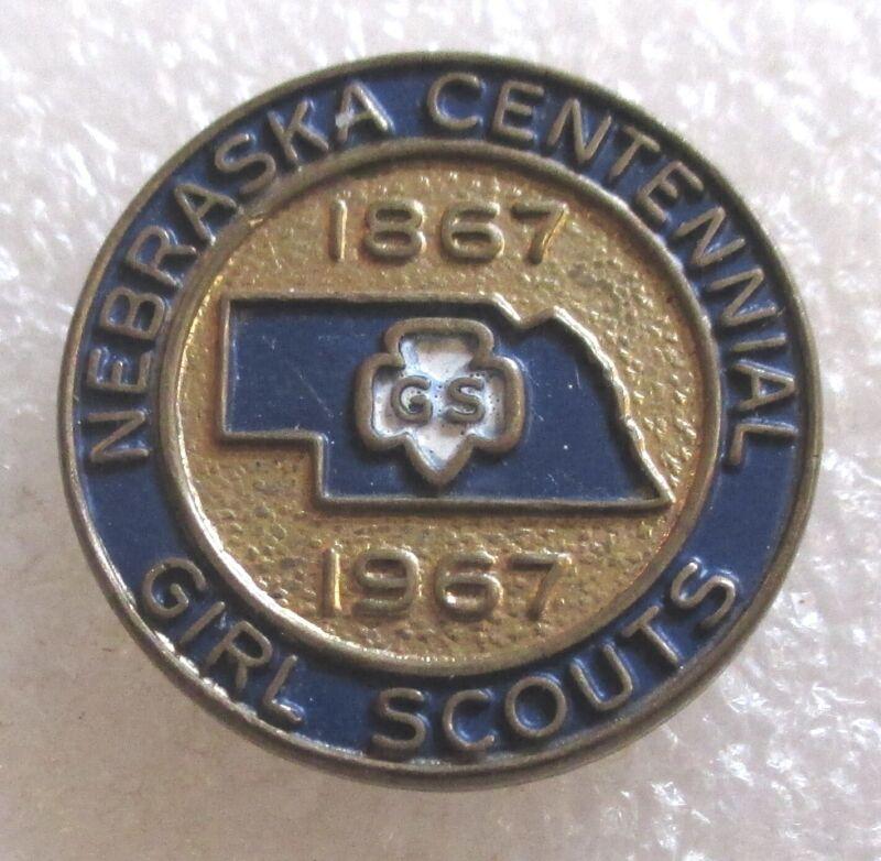 Vintage Nebraska Centennial Girl Scout Souvenir Pin 1867-1967 Scouts of America