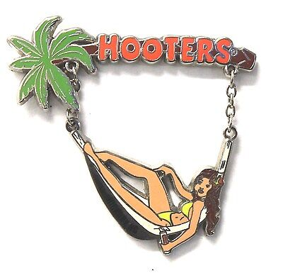 HICKORY, NC HOOTERS BRUNETTE BINIKI GIRL LAYING IN TROPICAL HAMMOCK LAPEL PIN - Tropical Lay