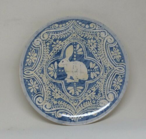 """Pottery Barn Easter Graphic Bunny Rabbit Blue Salad Plate 8"""" NWT"""