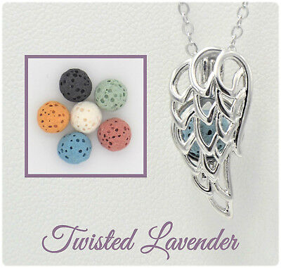 Angel Diffuser Necklace - Angel Wing Aromatherapy Essential Oil Necklace Diffuser with 6 lava stones!
