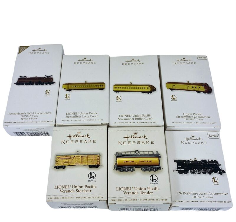 Hallmark Keepsake Collectible Ornaments Lot of 7 Different Lionel Train Replicas