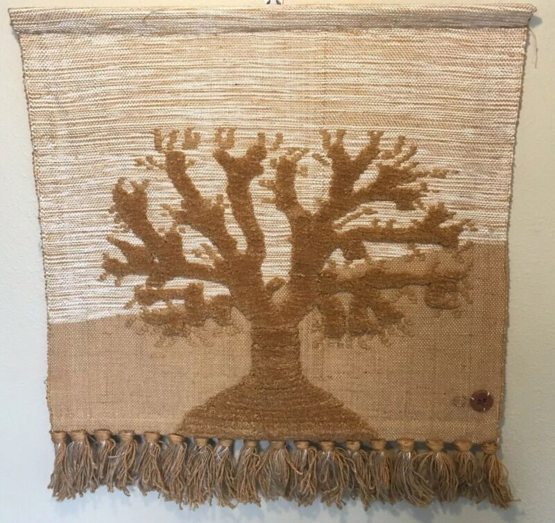 Authentic Don Freedman Tree Of Life Textile Fiber Art Wall Hanging 32 x 30 VTG
