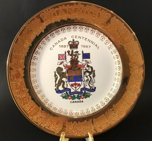 "CANADIAN CENTENNIAL PLATE 1867-1967 GOLD PROVINCIAL SHIELD BORDER 10"" VINTAGE"