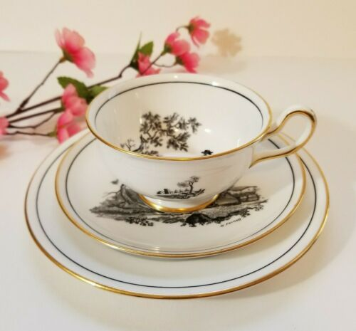 Royal Chelsea Trio Black and Gold Farm Scenes Tea Cup, Saucer and Dessert Plate