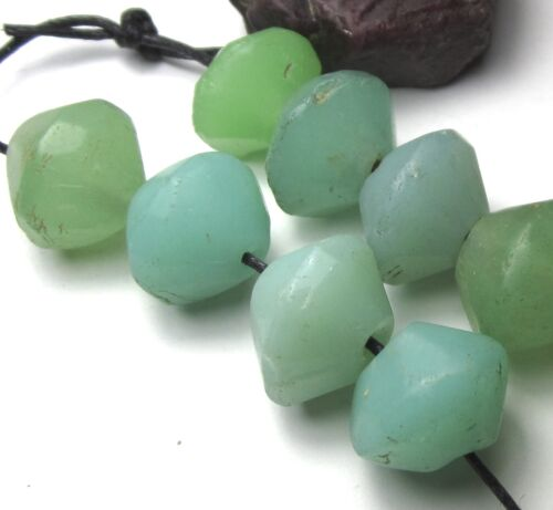 """10 RARE GORGEOUS OLD SEA FOAM BOHEMIAN """"VASELINE"""" ANTIQUE BEADS AFRICAN TRADE~"""