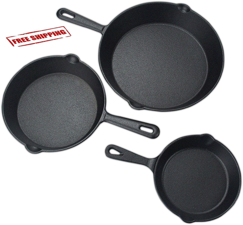 3 Pcs Set Pre-seasoned Cast Iron Skillet Stove Oven Fry Pans