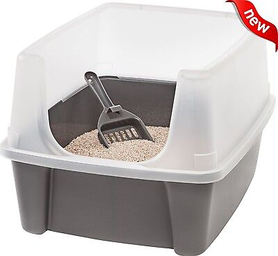 Clean Pet Cat Kitty Open Top Large Cats Litter Box with Shield and Scoop Gray