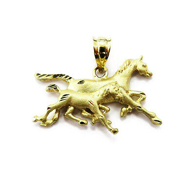14K Yellow Gold Running Two Horse Necklace Pendant Charm ~ 2.1