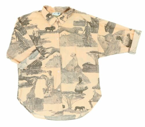 VTG 70s Studio 199 Women Medium 3/4 Sleeve African Safari Shirt Great Print!