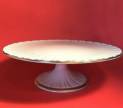 """LENOX CAKE PLATE STAND PEDESTAL 24K GOLD BANDS IVORY FLUTED VINTAGE 10 1/2"""""""