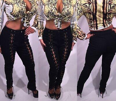 Connie's Black Stretch Cotton Poly Spandex Blend Lace Front Pants  L
