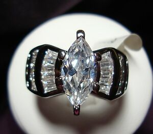 CZ-MARQUISE-CUT-Engagement-Wedding-Rings-18K-GP