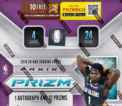2019 - 20 Panini Prizm Basketball sealed retail box 24 packs 4 NBA cards 1 auto