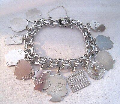 """Vintage MCC Sterling 8 ¼"""" Charm Bracelet - 12 Sterling Charms 66.2g"""