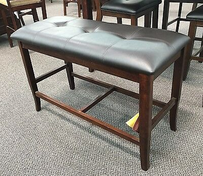 Counter Height Dining Bench in Deep Brown Finish Leatherette Upholstered -