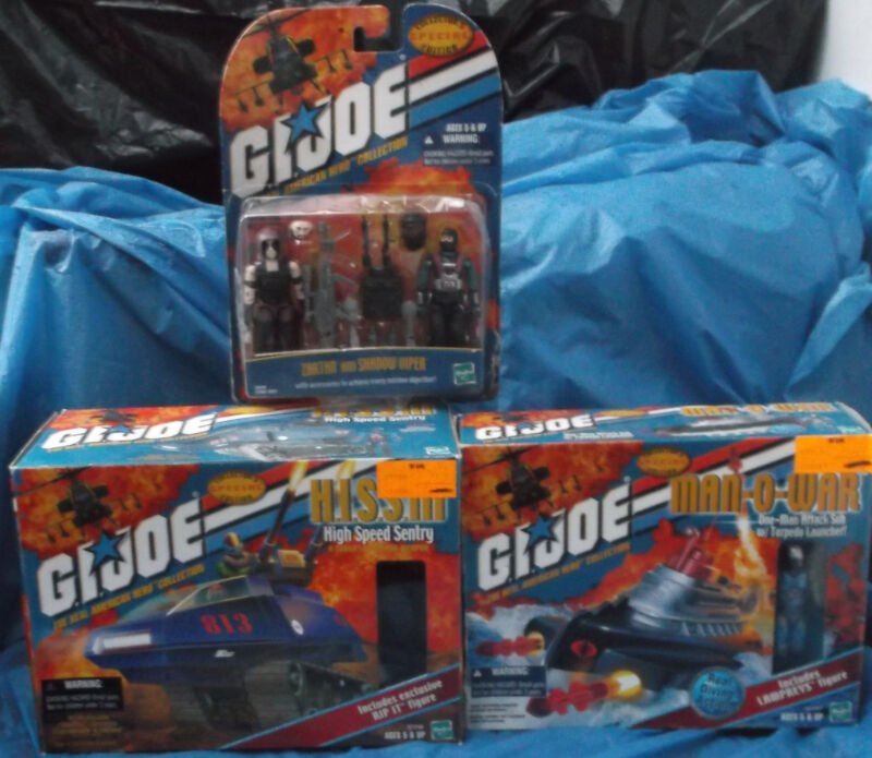 G.I. Joe ARAH 2001 MOC MIP Boxed Lot Hasbro Hiss III Man-O-War Zartan Shadow  GI