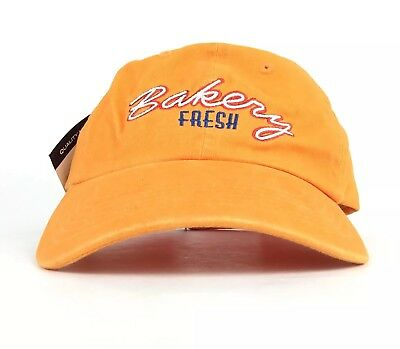 Bakery Fresh Embroidered Logo Baseball Cap Hat Adj Adult Cotton Orange NWT