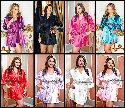 Plus Size Short Satin Robe W/ Sash Silky Satiny Luxurious Robe 1x/2x 3x/4x