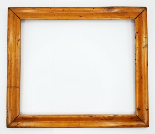 """Antique Birdseye Maple Veneer Picture Frame With Glass 14"""" x 12"""""""