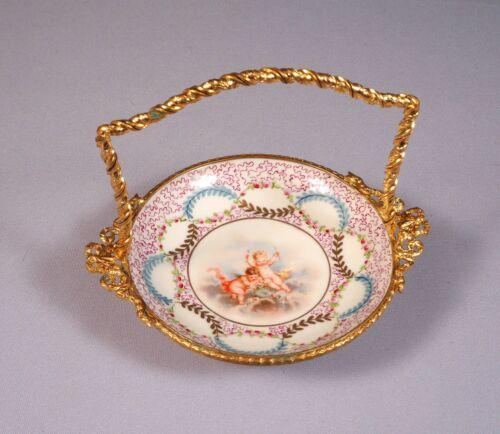 Antique  Sevres French Porcelain Ormolu Bronze Snack Nut Basket Tray Cherubs