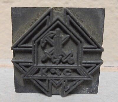 Vintage Knights Of Columbus All Metal Printing Block Letterpress Type Cut