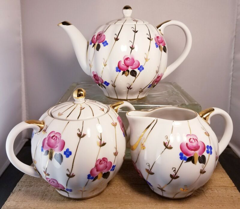 Antique Rose - Russian Lomonsov Porcelain - Set Includes Teapot, Creamer, &...