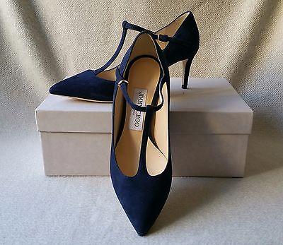 NIB Jimmy Choo 36.5 Daria T-Strap Pointy Toe Pump Navy Blue Suede Low Heel Shoe