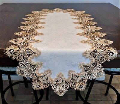 Doily Boutique Table Runner or Doily with Gold Vintage Lace and Fabric - Gold Lace Table Runner