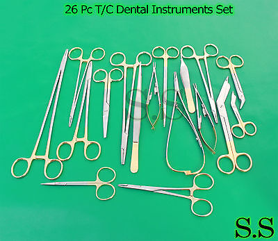 26 Pc Tc Surgical Veterinary Dental Instruments Set W Tungsten Carbide Ds-998