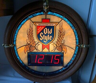 Vintage 1988 Old Style Beer Lighted Sign w/ Faux Stained Glass & Digital Clock