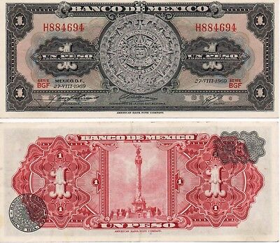 Mexico Banknote 1 Peso AU Paper Money - Mix Year - Aztec Calendar Independence