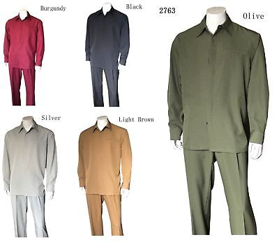 Polyester Leisure Suit (Mens Long Sleeve Leisure Suit/ Walking Suit, Shirt & Pants Set, Solid Pants)