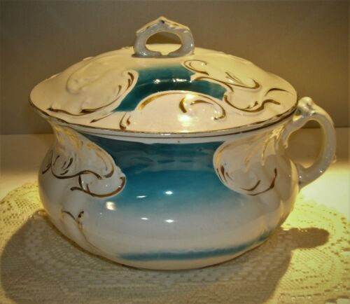 """Antique Dresden Porcelain Chamber Pot with Lid Blue & Gold Decorated 8 1/2""""T"""