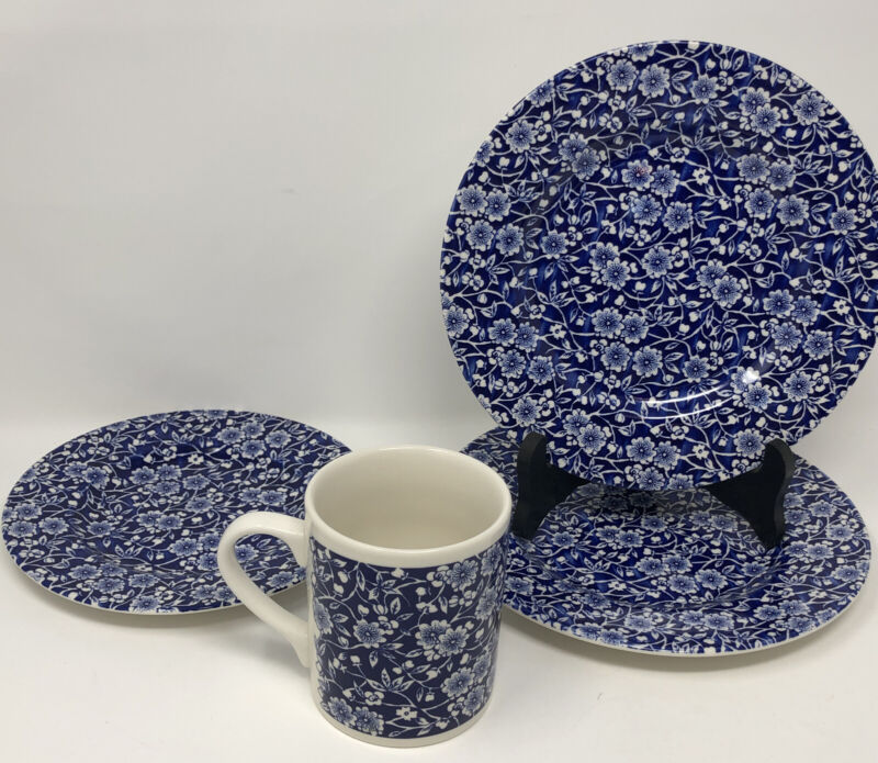 4 PCs. CHURCHILL ENGLAND Calico Blue Salad Plates, Bread & Butter Plate & Mug