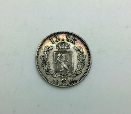 1854  Norway 12 Skillings Silver Pleasing Grade Nice Colour KM#314.2 King Oscar